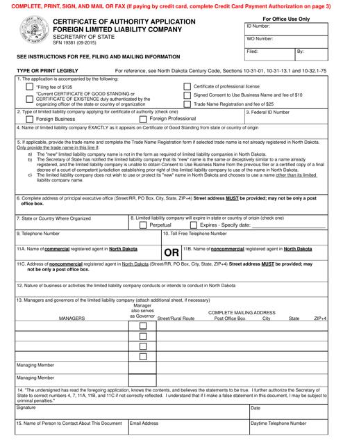 Form SFN19381  Printable Pdf