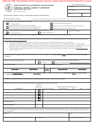 """Form SFN19381 """"Certificate of Authority Application Foreign Limited Liability Company"""" - North Dakota"""