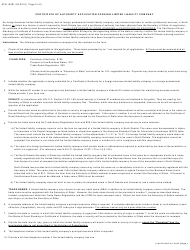 """Form SFN19381 """"Certificate of Authority Application Foreign Limited Liability Company"""" - North Dakota, Page 2"""