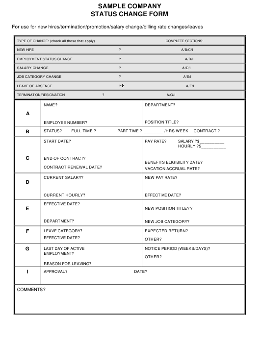 """Company Status Change Form - Sample"" Download Pdf"