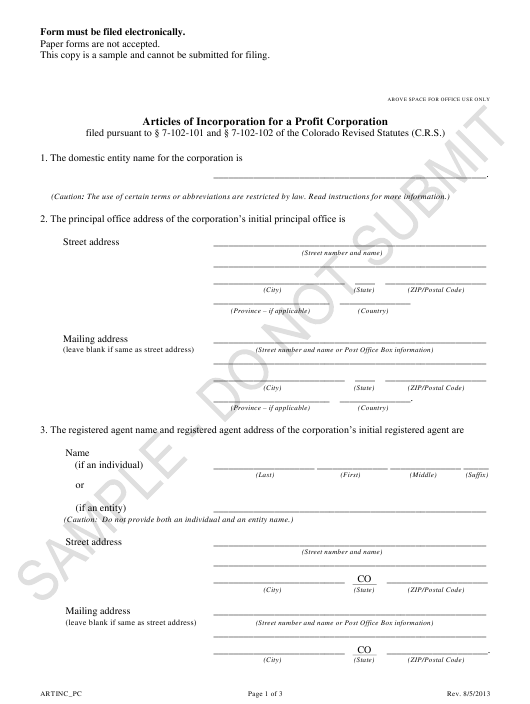 "Sample ""Articles of Incorporation for a Profit Corporation"" - Colorado Download Pdf"