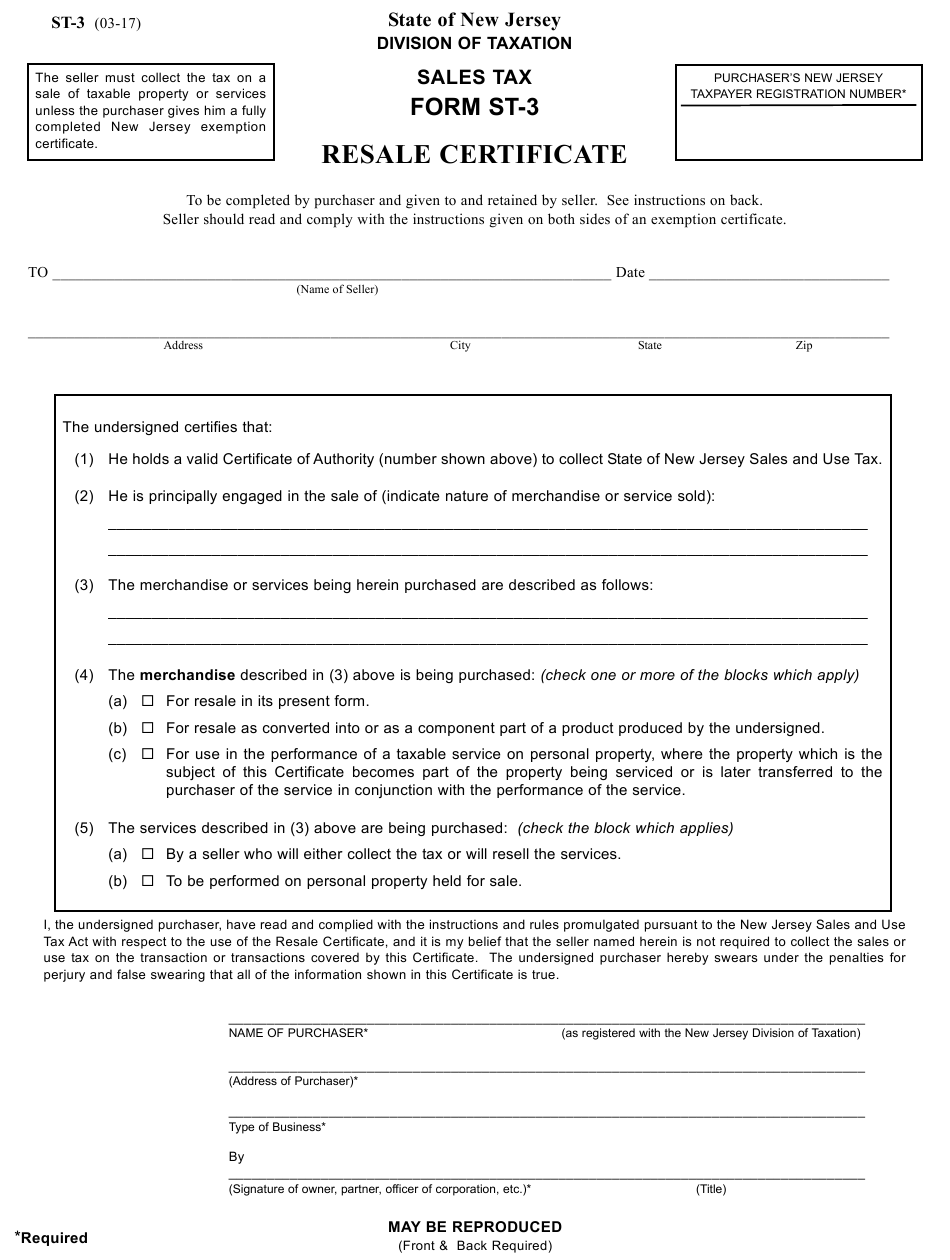 Form St 3 Download Printable Pdf Or Fill Online Resale Certificate New Jersey Templateroller