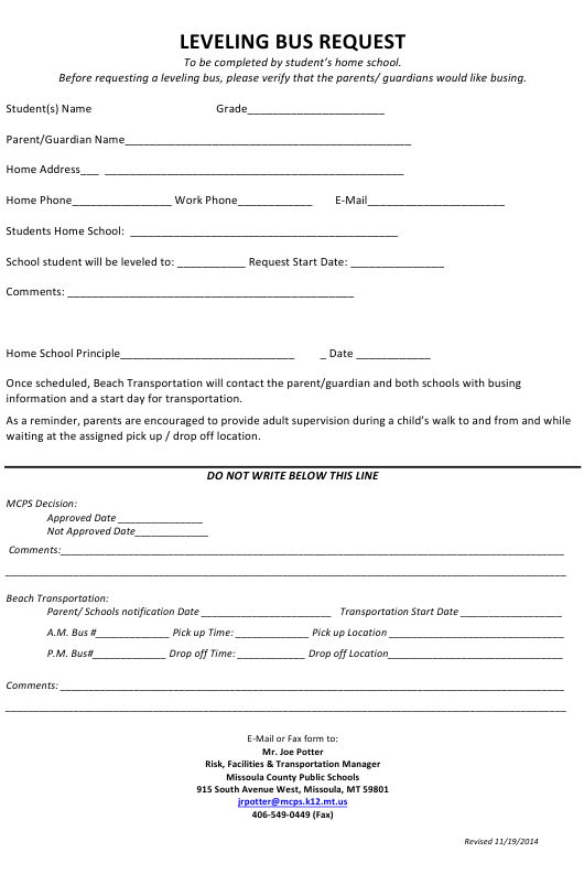 montana leveling bus request form