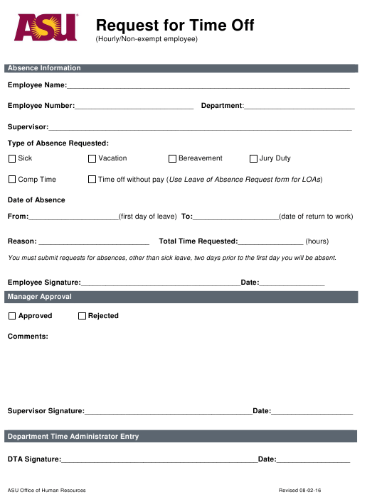 """""""Time off Request Form - Asu"""" Download Pdf"""
