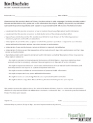 Notice of Privacy Practices Form - Pleasant Valley