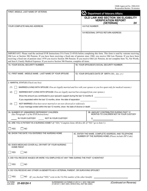 VA Form 21-0512v-1 Fillable Pdf