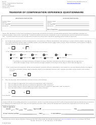 """Form C-38 """"Transfer of Compensation Experience Questionnaire"""" - Texas"""