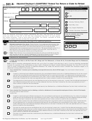 IRS Form 941-X Adjusted Employer's Quarterly Federal Tax Return or Claim for Refund