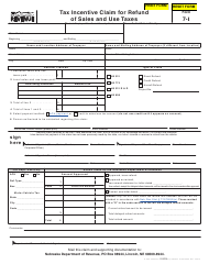 Form 7-I Tax Incentive Claim for Refund of Sales and Use Taxes - Nebraska