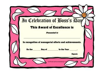 """Boss's Day Award Certificate Template"""