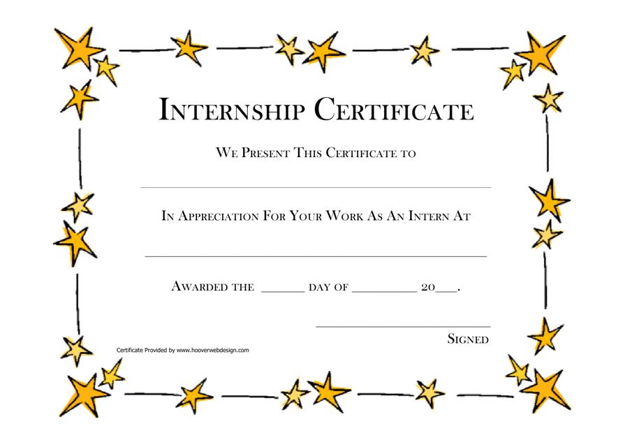 """Internship Certificate Template"" Download Pdf"