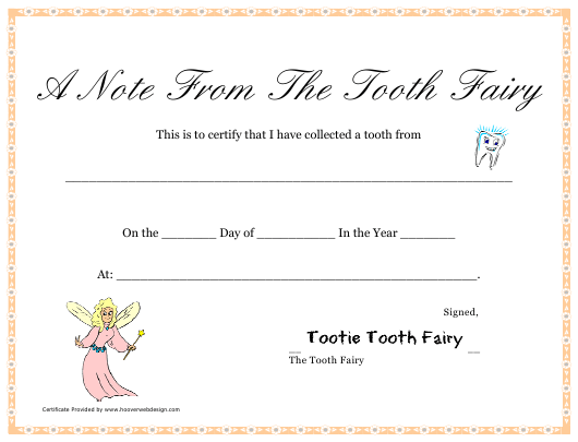 """""""A Note From the Tooth Fairy Certificate Template"""" Download Pdf"""