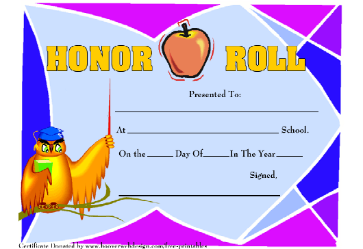 Honor Roll Certificate Template Download Pdf