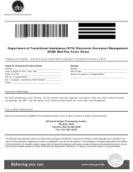 """Electronic Document Management (Edm) Mail/Fax Cover Sheet"" - Massachusetts"