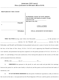"""Final Judgment of Divorce Form"" - New Jersey"