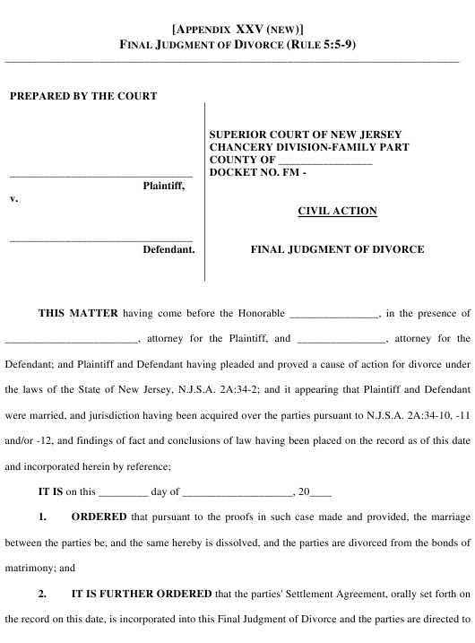 New Jersey Final Judgment Of Divorce Form Download Printable