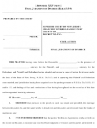 Final Judgment of Divorce Form - New Jersey