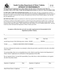 "Form MV-103 ""Affidavit of Responsibility"" - South Carolina"