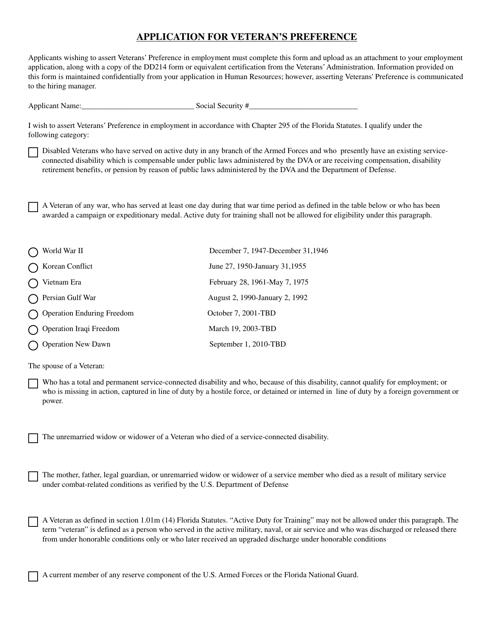 FDVA Form 0007  Printable Pdf