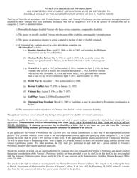 """Application Form for Veteran's Preference"" - Niceville, Florida"