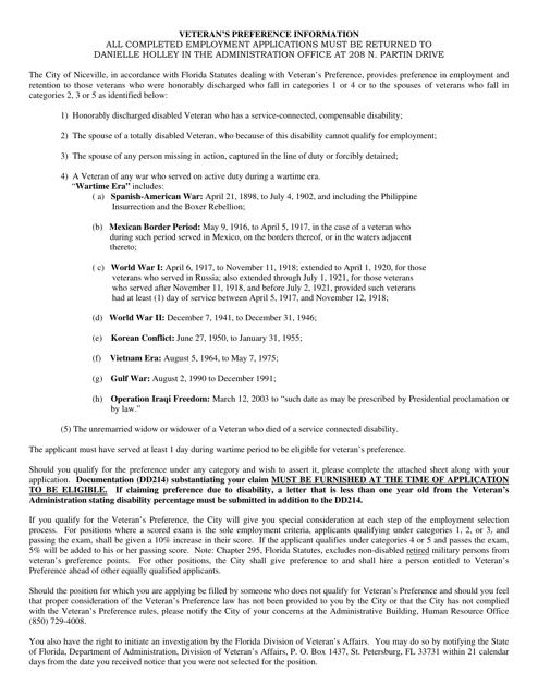 Application Form for Veteran's Preference - Niceville, Florida Download Pdf