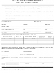 Application Form for Veterans Preference - County of San Luis Obispo, California