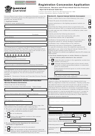 "Form F3937 ""Registration Concession Application"" - Queensland, Australia"