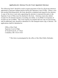 """Form OPD-1031 """"Application for Attorney Fees for Court Appointed Attorneys"""" - Ohio"""