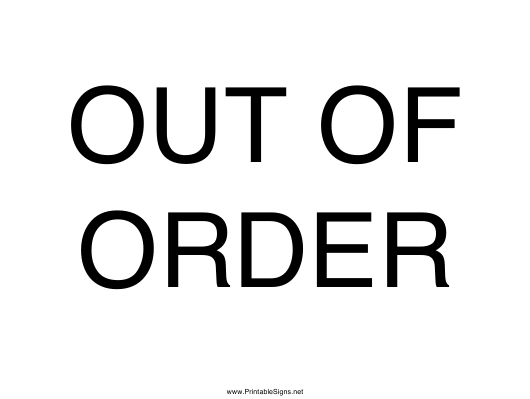 Out Of Order Sign Template Download Printable PDF Templateroller - Out of order sign pdf