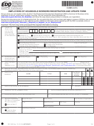 """Form DE1HW """"Employers of Household Workers Registration and Update Form"""" - California"""