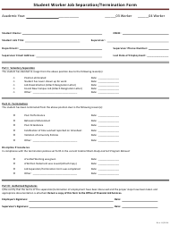 Student Worker Job Separation/Termination Form