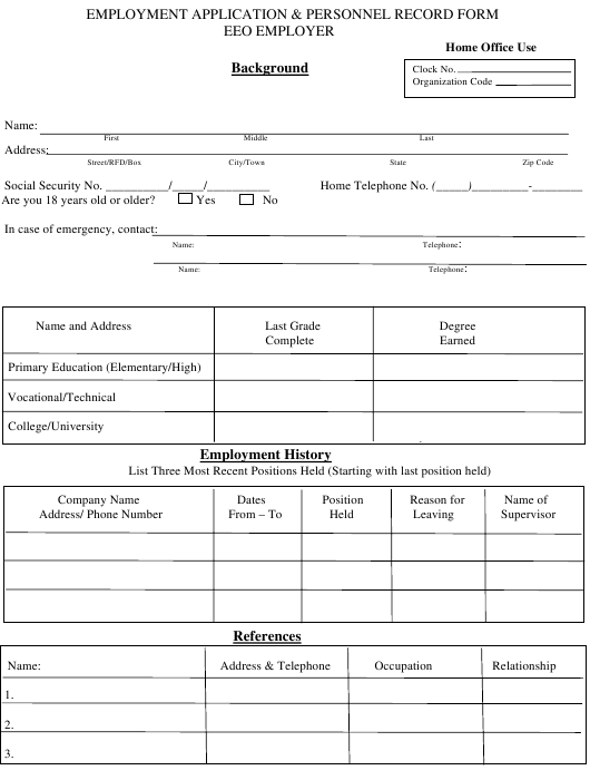 Employment Application & Personnel Record Form - EEO Employer Download Pdf