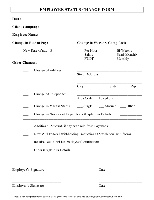 Employee Status Change Form Download Pdf