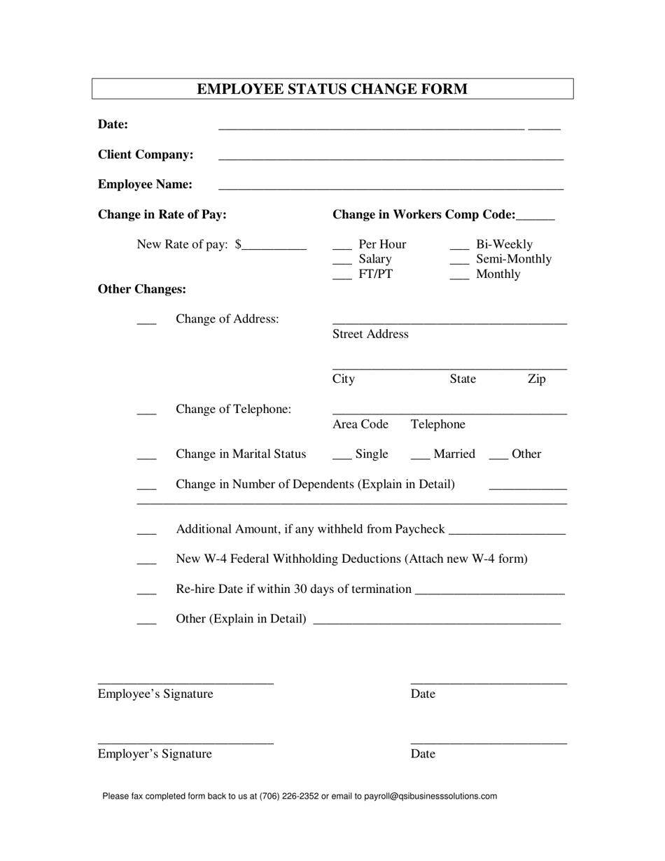 Employee Status Change Form Download Printable Pdf Templateroller