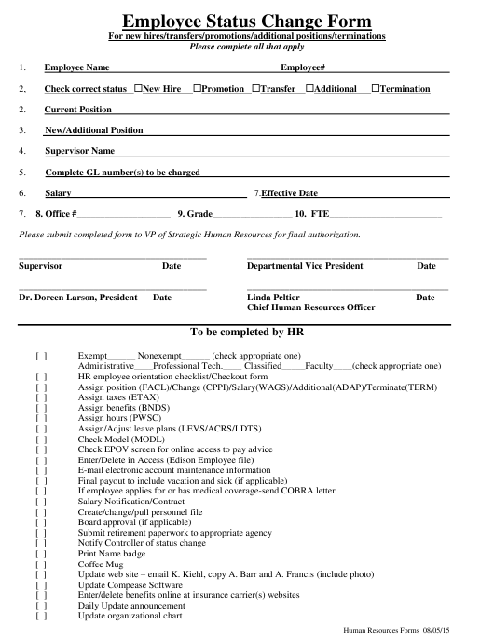 """Employee Status Change Form"" Download Pdf"