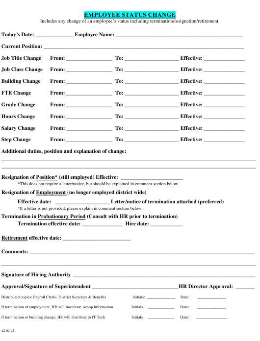 """Employee Status Change Form"" Download Pdf"