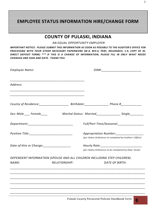 Employee Status Information Hire/Change Form - County of Pulaski, Indiana Download Pdf