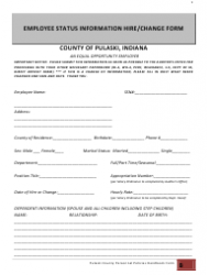 Employee Status Information Hire/change Form - County of Pulaski, Indiana