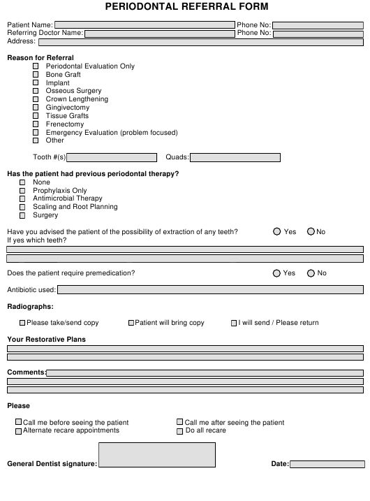 """Periodontal Referral Form Template"" Download Pdf"