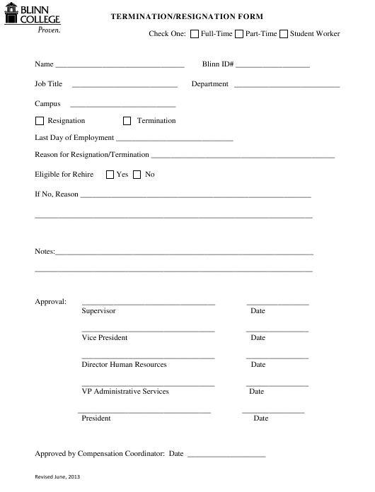 """Termination/Resignation Form - Blinn College"" Download Pdf"
