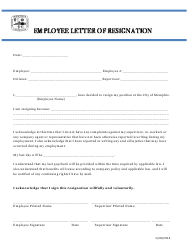 """Employee Letter of Resignation Form"" - Tennessee"