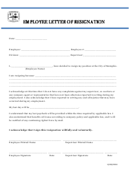 Employee Letter of Resignation Form - Tennessee
