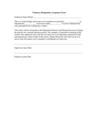 Voluntary Resignation Acceptance Form