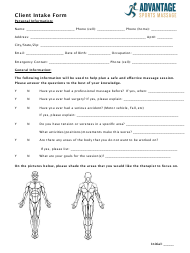 """Client Intake Form - Advantage Sports Massage"""