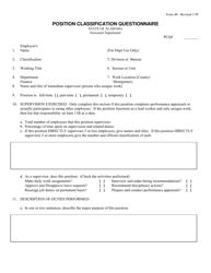 Form 40 Position Classification Questionnaire - Alabama