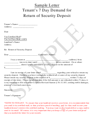 """Sample Tenant's 7 Day Demand Letter Template for Return of Security Deposit"""