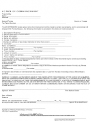 Notice of Commencement Form - County of Volusia, Florida