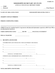 "Form FS ""Annual Financial Report Form"" - Mississippi"