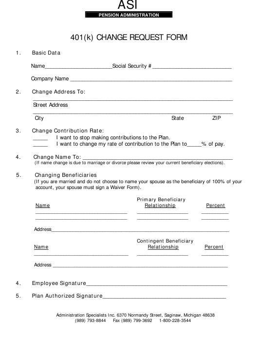 Michigan 401(K) Change Request Form - Asi Pension ...