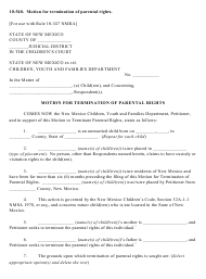 """Form 10-540 """"Motion for Termination of Parental Rights - Children's Court"""" - New Mexico"""